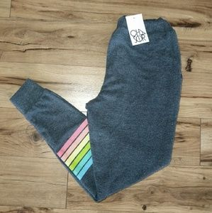 Chaser Grey Knit Rainbow Stripe Joggers Sweatpants